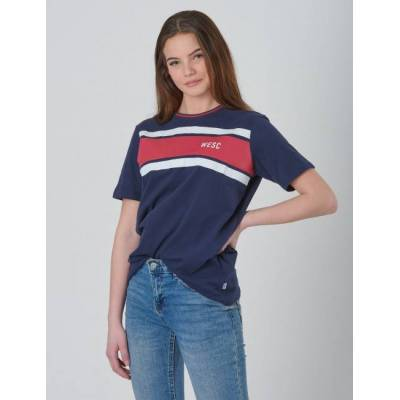 WeSC, MAX CHEST STRIPES JR, Blå, T-shirt/toppe till Pige, 140 cm - Børnetøj - WeSC