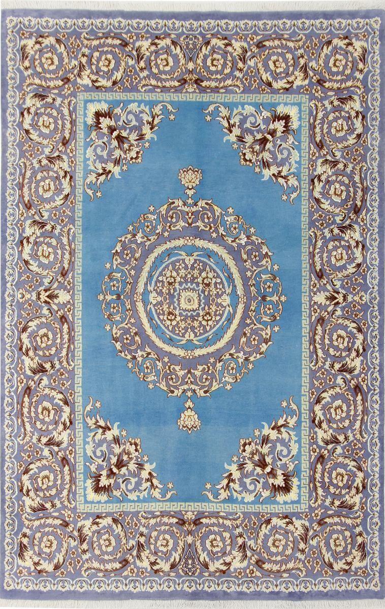 Nain Trading Ægte Tæppe Oriental Mashhad 240x159 Beige/Turquoise (Villa, Persien / Iran, Käsinommeltu)