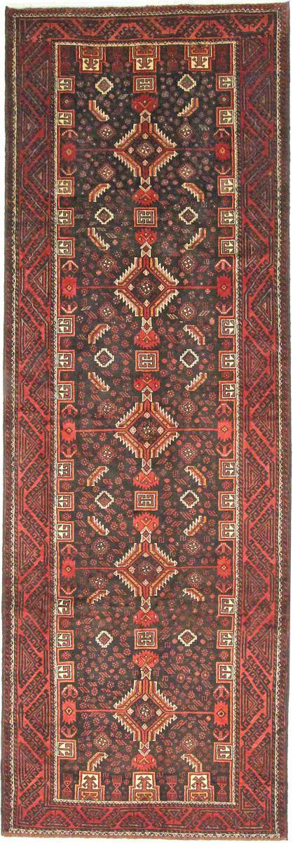 Nain Trading Oriental Beluch Tæppe 400x140 Juoksija Rust/Purple (Villa, Persien / Iran, Käsinommeltu)