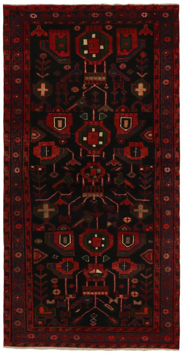 Nain Trading Håndknyttet Khamseh Tæppe 208x105 Juoksija Dark Grey (Villa, Persien / Iran)
