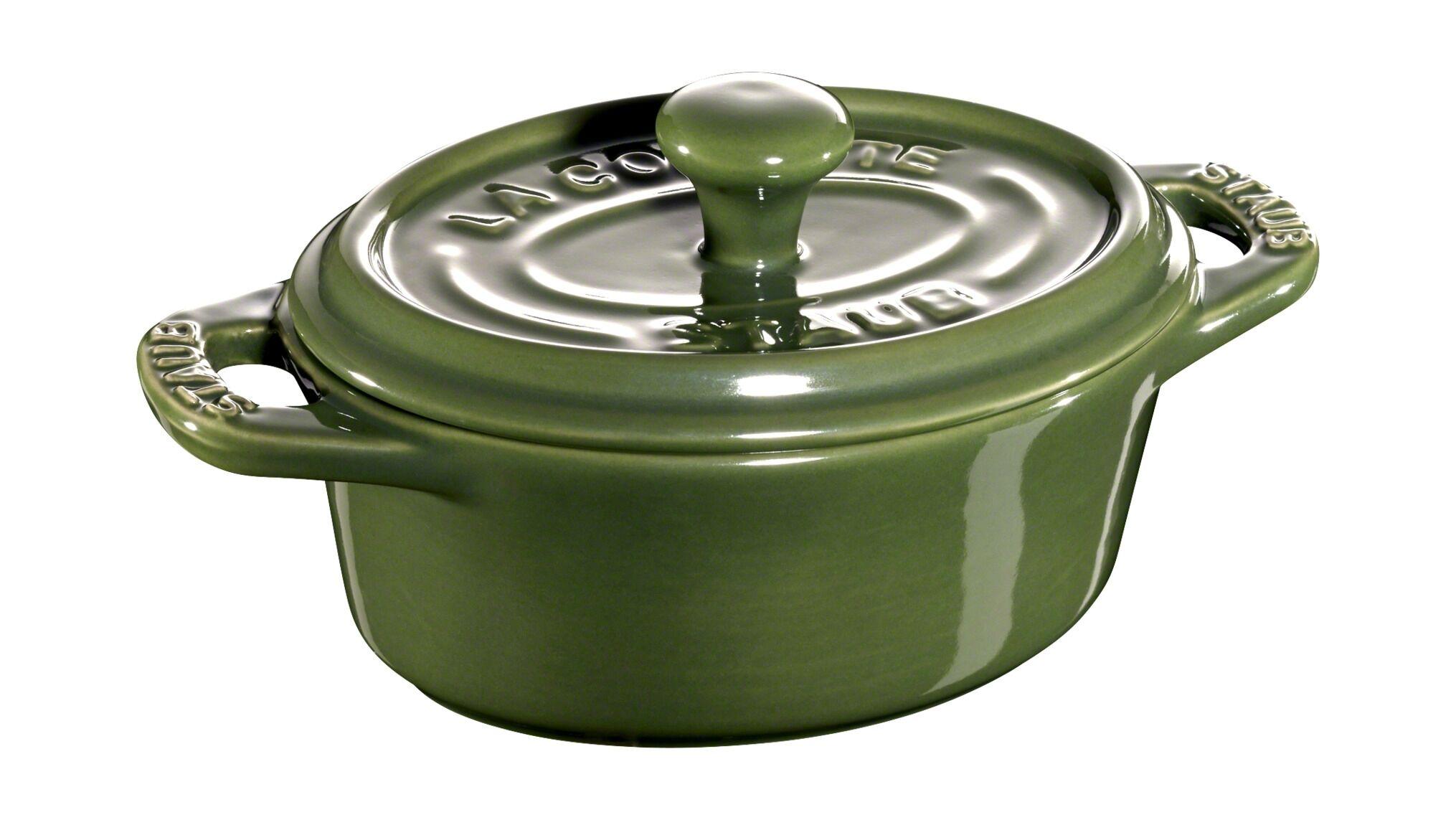 Staub Cocotte 11 grøn, Mini cocotter i stentøj, 0,2 l, Basilikumgrøn