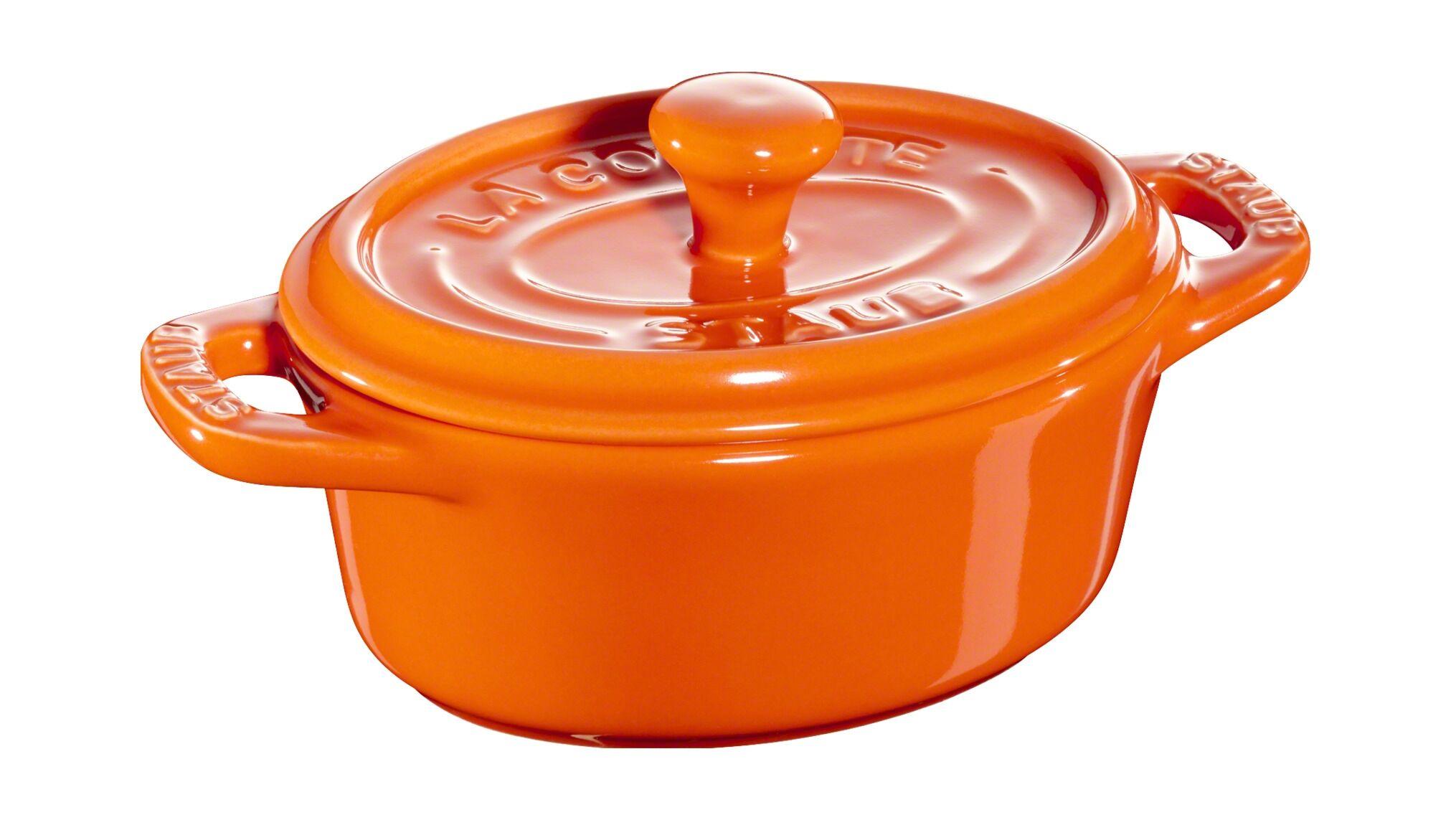 Staub Mini cocotte oval i stentøj 11 cm, Mini cocotter i stentøj, 0,2 l, Orange