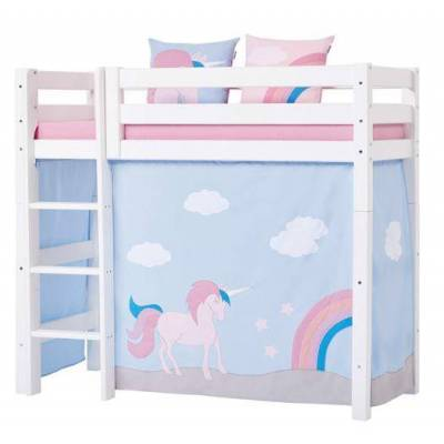 Hoppekids Forhæng, Unicorn til mellemhøj seng 70x160 cm - Hoppekids - Babymøbler - Hoppekids