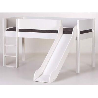 Manis-h Halvhøj seng med rutsjebane, 160 cm Hvid - Manis-h - Babymøbler - Manis-h