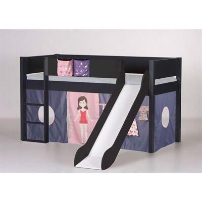 Manis-h Halvhøj seng med rutsjebane, 160 cm Antracit - Manis-h - Babymøbler - Manis-h