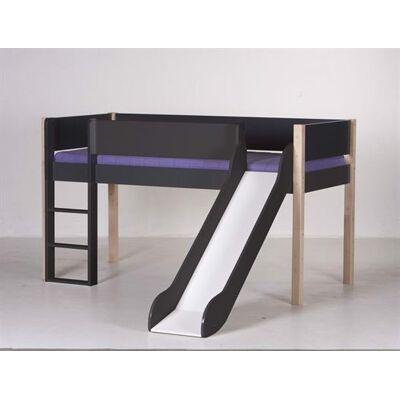 Manis-h Halvhøj seng med rutsjebane, 160 cm Antracit med natur - Manis-h - Babymøbler - Manis-h