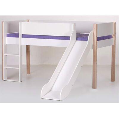 Manis-h Halvhøj seng med rutsjebane, 160 cm Hvid med natur - Manis-h - Babymøbler - Manis-h
