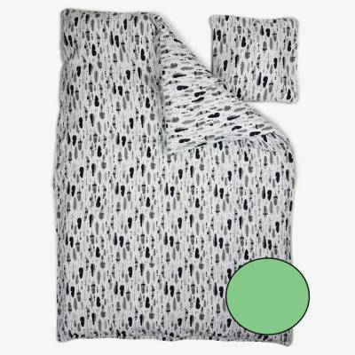 MamaMilla juniorsengetøj i økologisk bomuld med fjer - Hvid/Mintgrøn - Baby Spisetid - MamaMilla