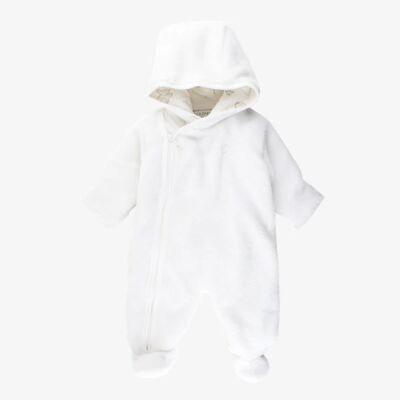 Fixoni køredragt i blød frotté plys med fødder - Hvid - Børnetøj - Fixoni
