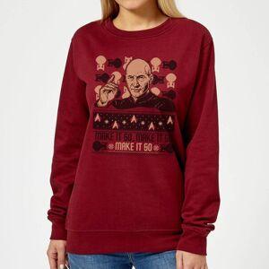 Trek Star Trek: The Next Generation Make It So Women's Christmas Sweatshirt - Burgundy - XL - Burgundy