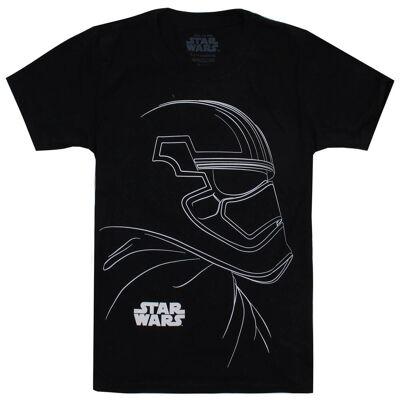 Mandarin Creative Star Wars Boys' The Last Jedi Trooper Outline T-Shirt - Black - 9-10 Years - Black - Børnetøj - Mandarin Creative