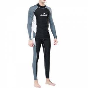Newchic Sexy Patchwork Sun Protective Long Sleeve Surfing Diving Suit Swimwear for Men