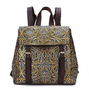 Newchic Brenice Brush Color Genuine Leather Women Backpack