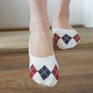 Newchic Plaid Cotton Breathable Invisible Antiskid Ankle Socks