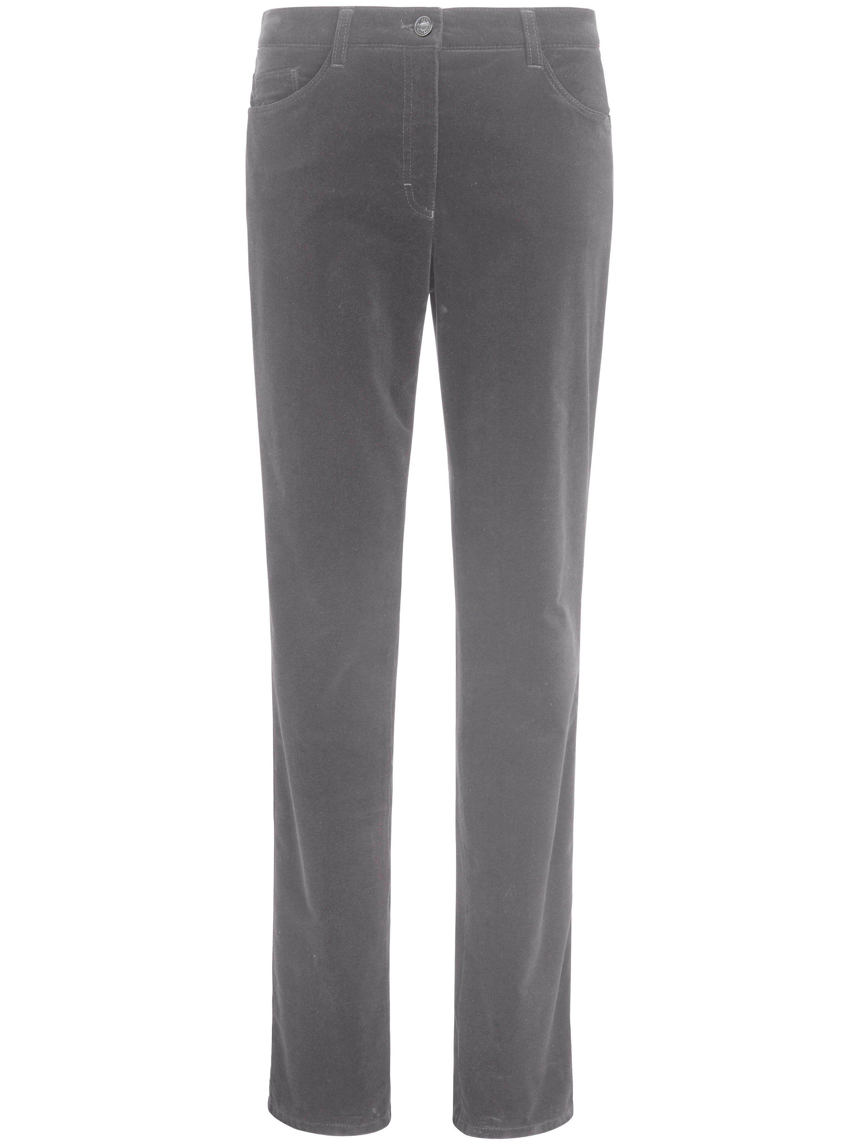Brax Feminine Fit-buks i sportsfløjl model Carola Fra Brax Feel Good grå