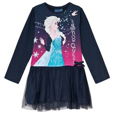 Disney Frozen Frost Kjole Mørkeblå 10 år - Børnetøj - Disney