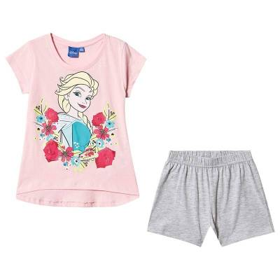 Disney Frozen Disney Frozen Ss Pyjama Orchid Pink/ Light Grey Melange 128 cm (7-8 år) - Børnetøj - Disney
