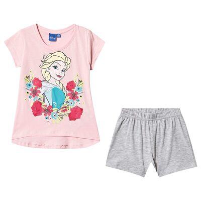 Disney Frozen Disney Frozen Ss Pyjama Orchid Pink/ Light Grey Melange 116 cm (5-6 år) - Børnetøj - Disney
