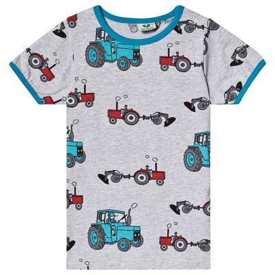Småfolk Grey Tractor Print Tee 74cm (9 months) - Børnetøj - Småfolk