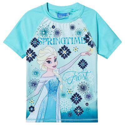 Disney Frozen Disney Frozen Ss Swimshirt White, Blue Radiance 128 cm (7-8 år) - Børnetøj - Disney