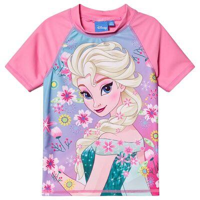Disney Frozen Disney Frozen Ss Swimshirt White, Pink Carnation, Blue Radiance 128 cm (7-8 år) - Børnetøj - Disney