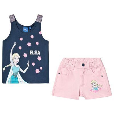 Disney Frozen Disney Frozen Ss T-Shirt + Shorts Set Dark Denim/ Orchid Pink 110 cm (4-5 år) - Børnetøj - Disney
