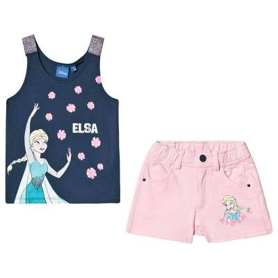Disney Frozen Disney Frozen Ss T-Shirt + Shorts Set Dark Denim/ Orchid Pink 116 cm (5-6 år) - Børnetøj - Disney