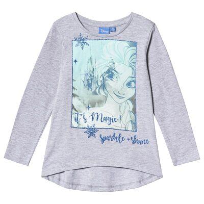 Disney Frozen Frozen LS T-Shirt Light Grey Melange 128 cm (7-8 år) - Børnetøj - Disney