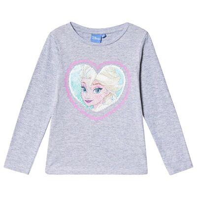 Disney Frozen Frozen LS T-Shirt With Reversible Sequins Light Grey Melange 128 cm (7-8 år) - Børnetøj - Disney