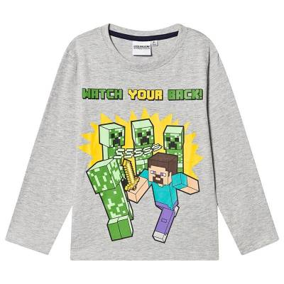 Minecraft Minecraft Ls T-Shirt Mintcraft Grey Melange 128 cm (7-8 Years) - Børnetøj - Minecraft