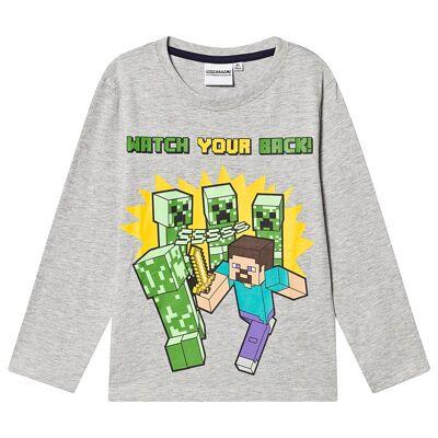 Minecraft Minecraft Ls T-Shirt Mintcraft Grey Melange 116 cm (5-6 Years) - Børnetøj - Minecraft