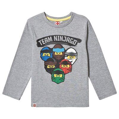 Lego NINJAGO Lego Ninjago LS T-Shirt Grey Melange 140 cm (9-10 år) - Børnetøj - Lego