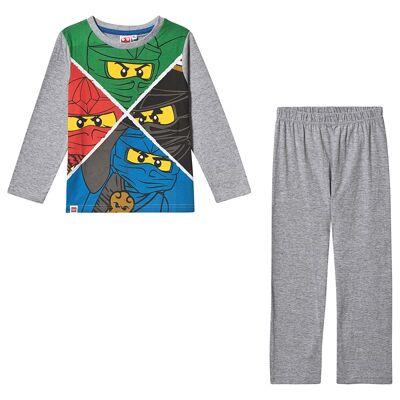 Lego NINJAGO Lego Ninjago LS Pyjama Grey Melange 128 cm (7-8 år) - Børnetøj - Lego