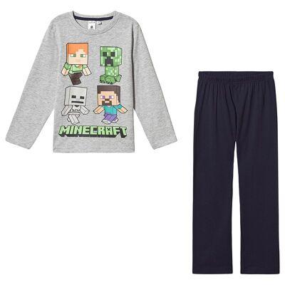 Minecraft Minecraft Ls Pyjama Mintcraft Grey Melange/ Peacoat Blu 152 cm (11-12 Years) - Børnetøj - Minecraft
