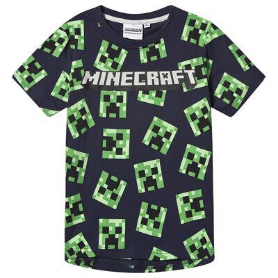 Minecraft Minecraft Ls T-Shirt Mintcraft Grey Melange/ Peacoat Blu 140 cm (9-10 Years) - Børnetøj - Minecraft
