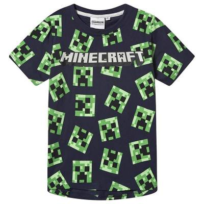 Minecraft Minecraft Ls T-Shirt Mintcraft Grey Melange/ Peacoat Blu 128 cm (7-8 Years) - Børnetøj - Minecraft