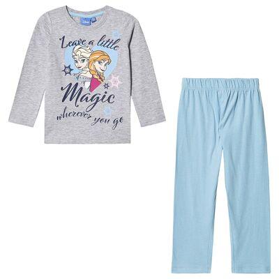 Disney Frozen Frozen LS Pyjama Light Grey Melange 128 cm (7-8 år) - Børnetøj - Disney