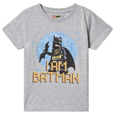 Lego Wear Batman T-Shirt S/S Grey Melange 128 cm (7-8 år) - Børnetøj - Lego