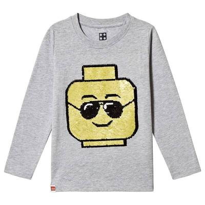 Lego Wear Iconic T-Shirt L/S Grey Melange 122 cm (6-7 år) - Børnetøj - Lego