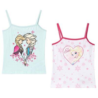 Disney Frozen Frozen 2-Pack Girls Vest White/Blue Light 104 cm (3-4 år) - Børnetøj - Disney