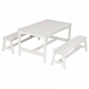 Oliver & Kids Table with Two Benches Hvid One Size