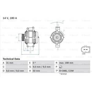 BOSCH Generator, BOSCH, b.la. til Mercedes-Benz, 14 V