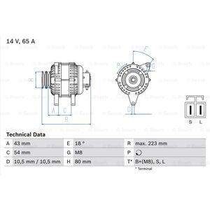 BOSCH Generator, BOSCH, b.la. til Mitsubishi, 14 V