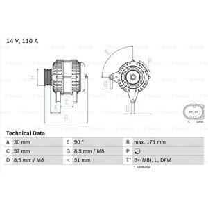 BOSCH Generator, BOSCH, b.la. til VW~Skoda~Seat~Audi, 14 V