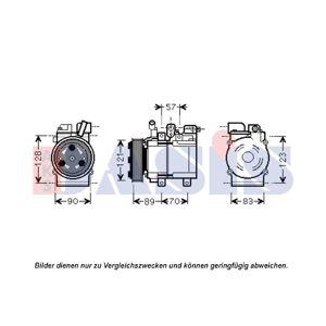 AKS DASIS Kompressor, klimaanlæg, AKS DASIS, b.la. til Hyundai, 12 V