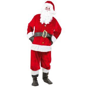 DELUXE Julemandsdragt med bælte, hue, og støvlecovers - UDEN SKÆG - One size