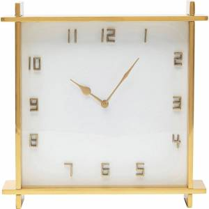 KARE DESIGN kvadratisk Angle Big bordur - glas, hvid MDF og guld aluminium (37x37)