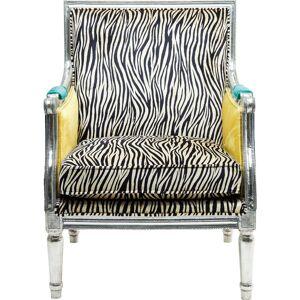 KARE DESIGN Regency Zebra hvilestol - multifarvet stof og sølv træ, m. armlæn