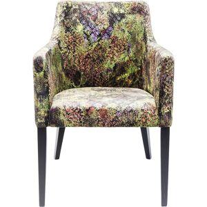 KARE DESIGN Mode Green Dschungel lænestol - multifarvet stof og mørke bøgeben, blomsterprint, m. armlæn