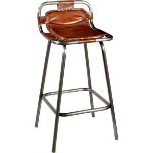 TRADEMARK LIVING barstol - ægte brunt læder og jernstel m. klar lak